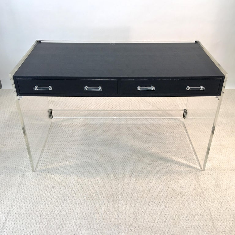 Late 20th Century Wycombe Meyer 1970s Lucite and Black Lizard Writing Table and Chair For Sale