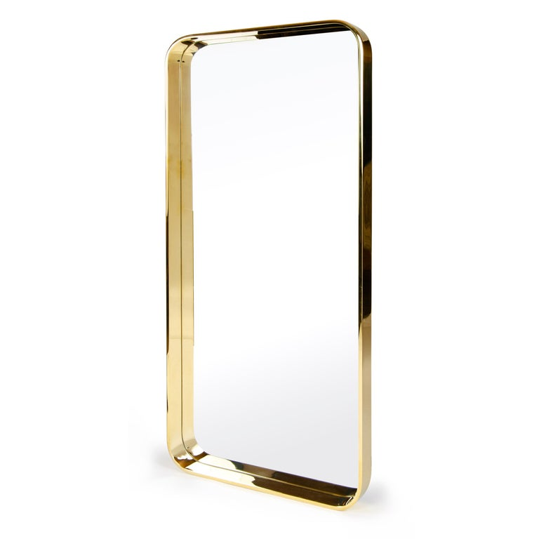 A Wyeth original mirror in solid bronze bar with wide radius corners. Available in custom sizes and finishes.