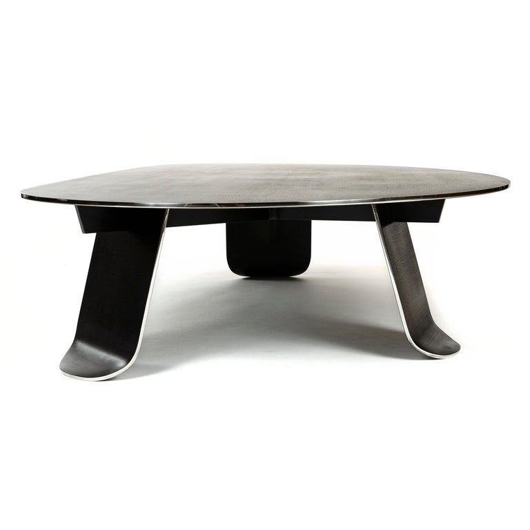Wyeth Chrysalis Table No. 1 in Blackened Stainless Steel with Polished Edges For Sale 4