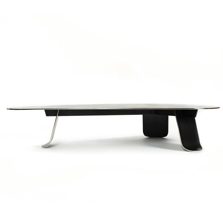 Patinated Wyeth Chrysalis Table No. 1 in Blackened Stainless Steel with Polished Edges For Sale