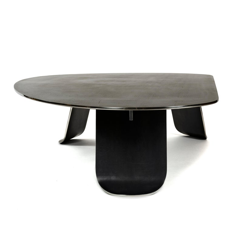 Contemporary Wyeth Chrysalis Table No. 1 in Blackened Stainless Steel with Polished Edges For Sale