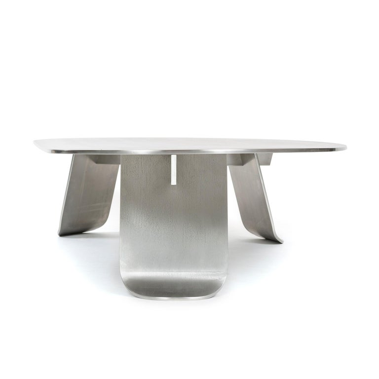 Wyeth Chrysalis Table No. 1 in Natural Grain Stainless Steel For Sale 4