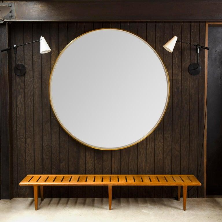 Modern WYETH Original Round Mirror in Polished Bronze For Sale