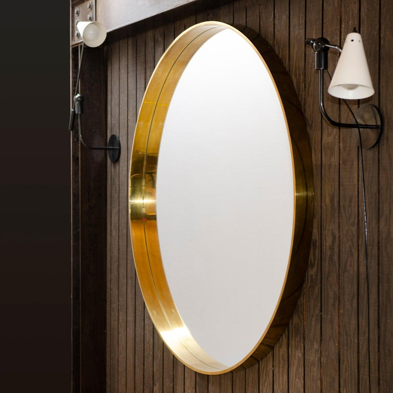 American WYETH Original Round Mirror in Polished Bronze For Sale