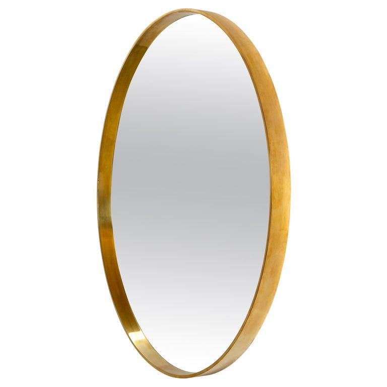 WYETH Original Round Mirror in Polished Bronze For Sale