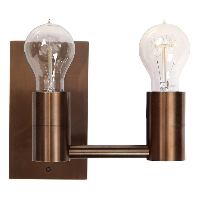 Wyeth Original Double Arm Wall Sconce in Patinated Brass For Sale