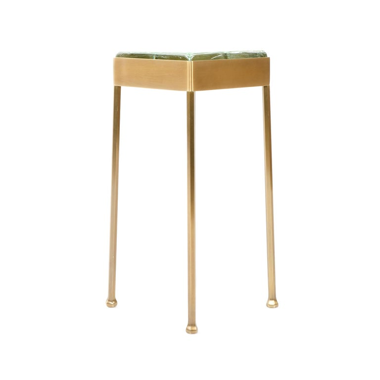American Wyeth Original Glass Block Side Table in Patinated Bronze For Sale