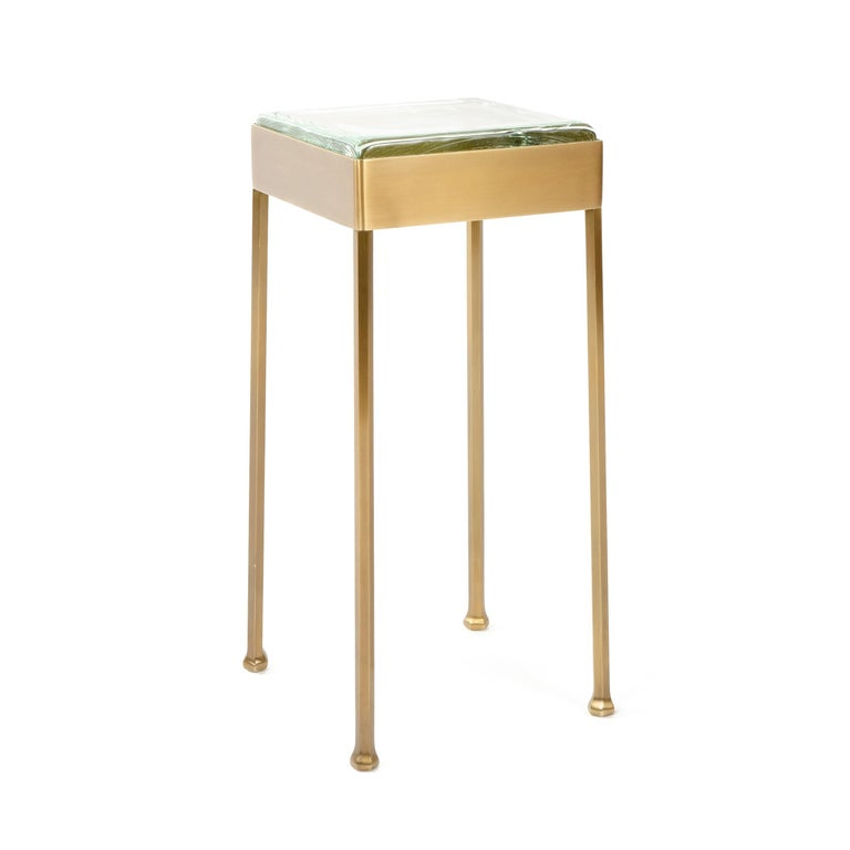 Wyeth Original Glass Block Side Table in Patinated Bronze In New Condition For Sale In Sagaponack, NY