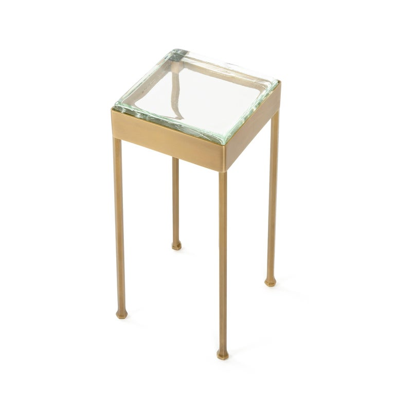 Contemporary Wyeth Original Glass Block Side Table in Patinated Bronze For Sale