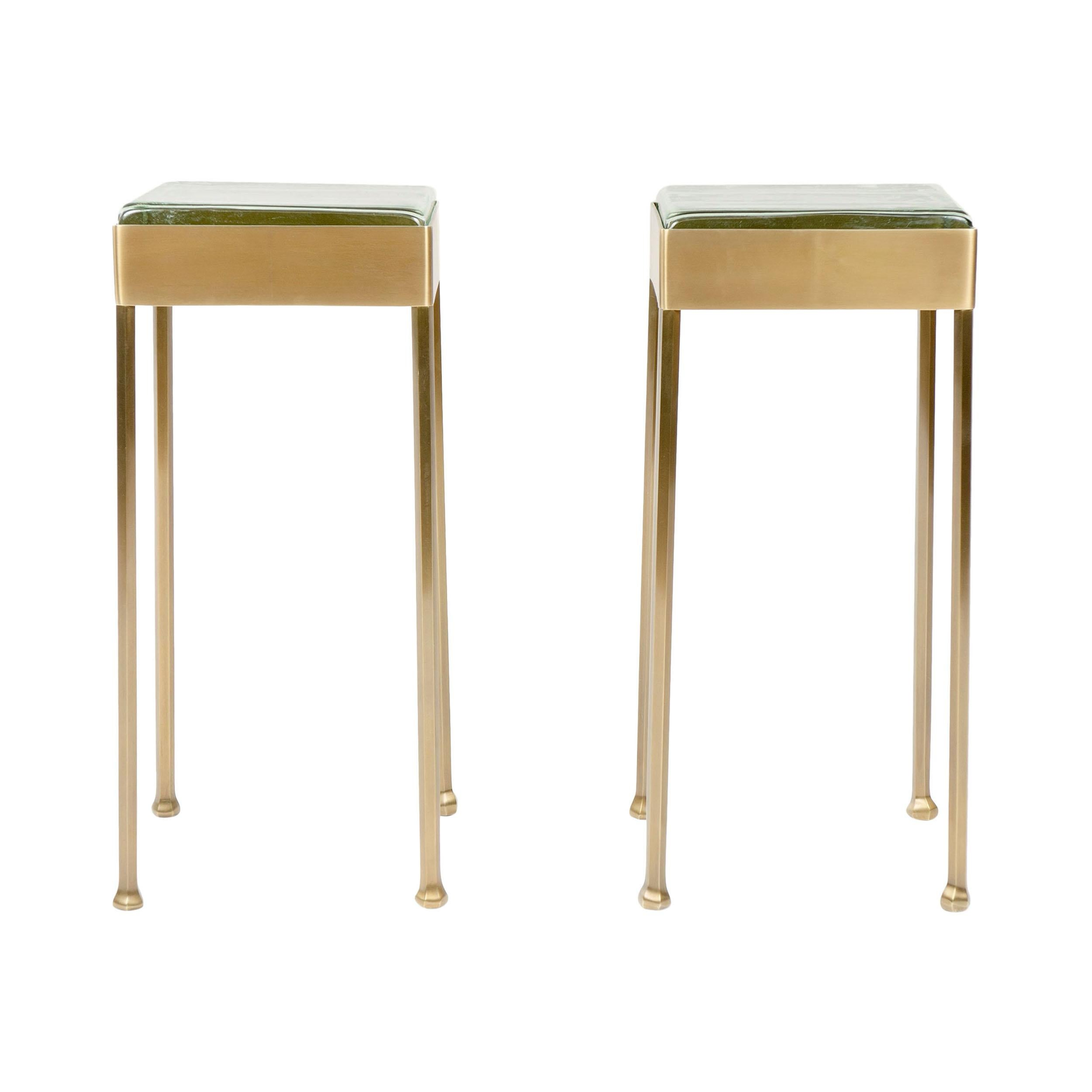 WYETH Original Glass Block Side Table in Patinated Bronze