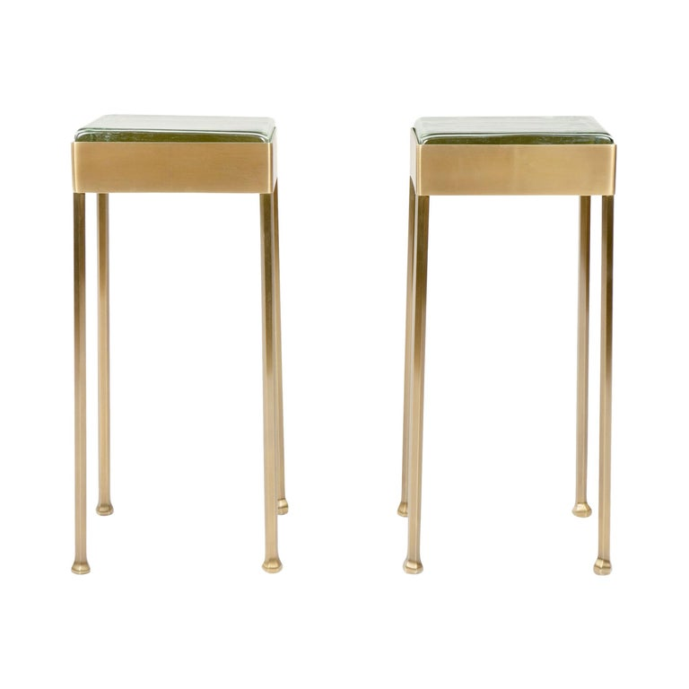 Wyeth Original Glass Block Side Table in Patinated Bronze For Sale