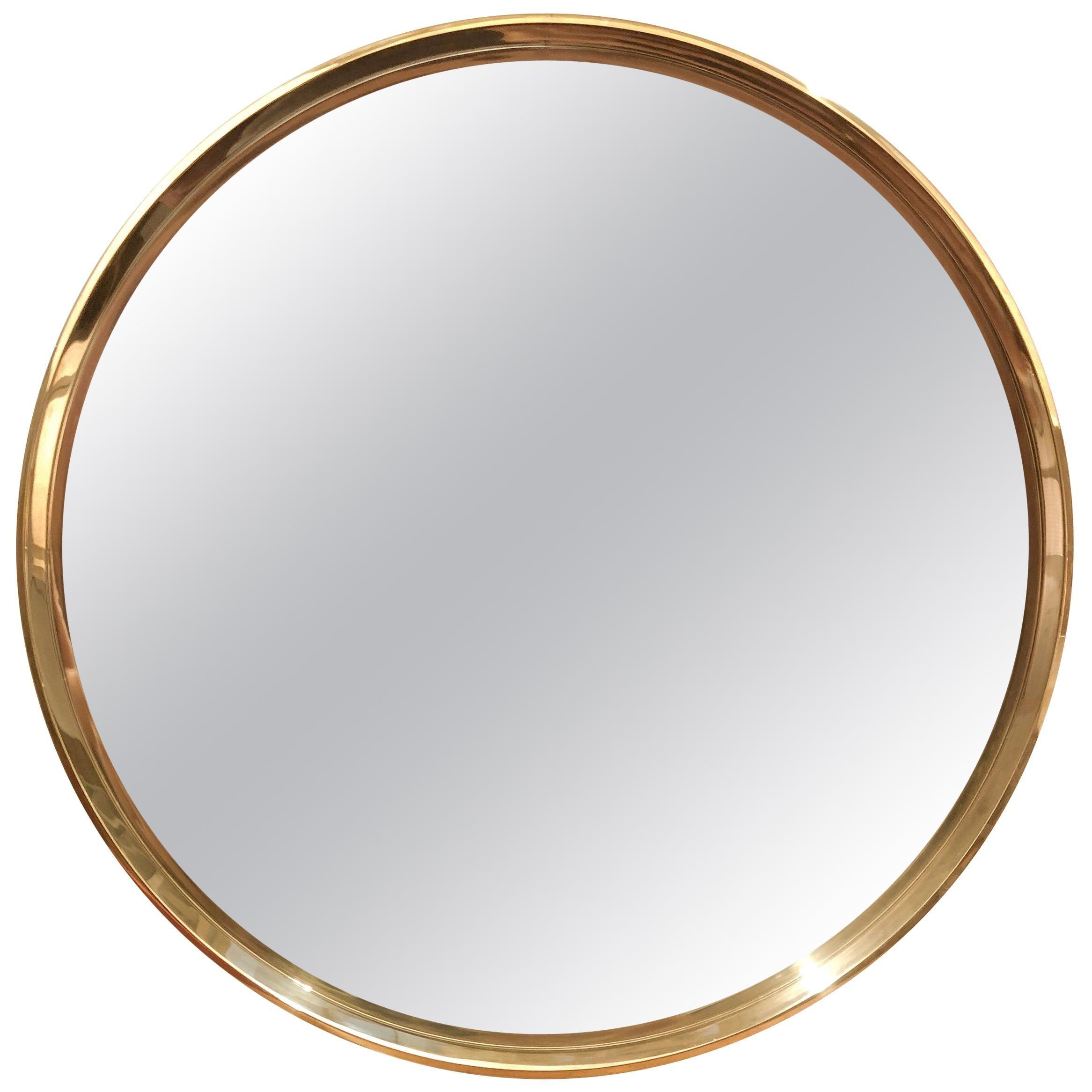 """WYETH Original 55"""" Round Mirror in Polished Bronze"""