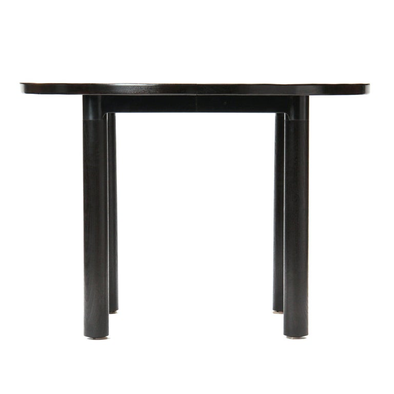 American Wyeth Original Round Ebonized Bamboo and Blackened Steel Dining Table For Sale
