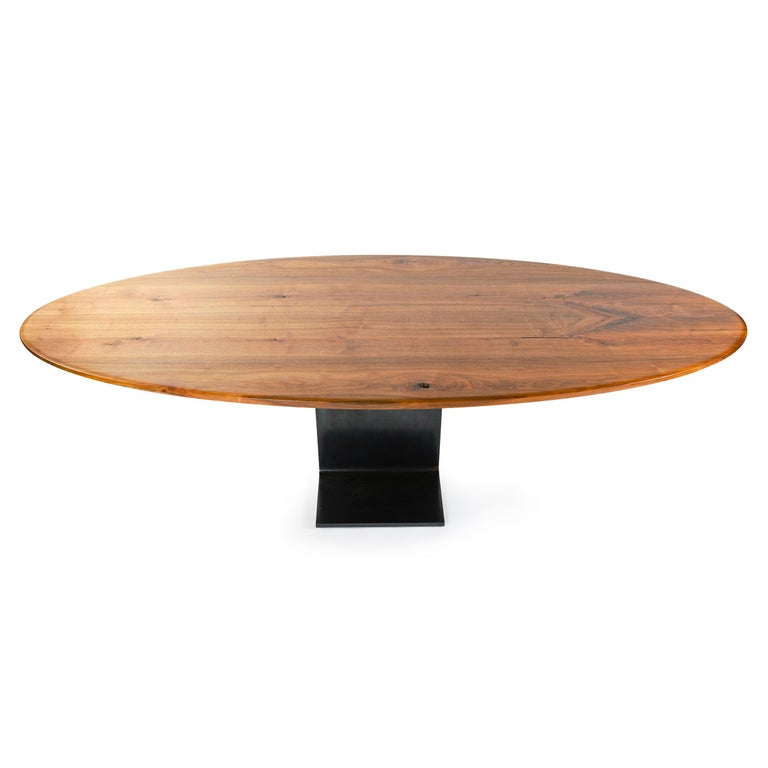 American WYETH Original Super Yacht Table in Walnut and Blackened Steel For Sale