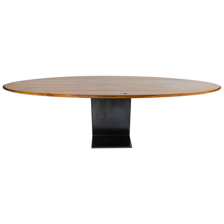 WYETH Original Super Yacht Table in Walnut and Blackened Steel For Sale