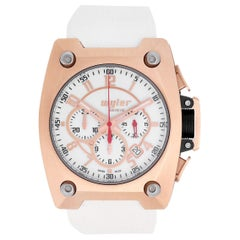 Wyler Incaflex Limited Edition 18k Gold White Rubber Men's Chronograph Watch
