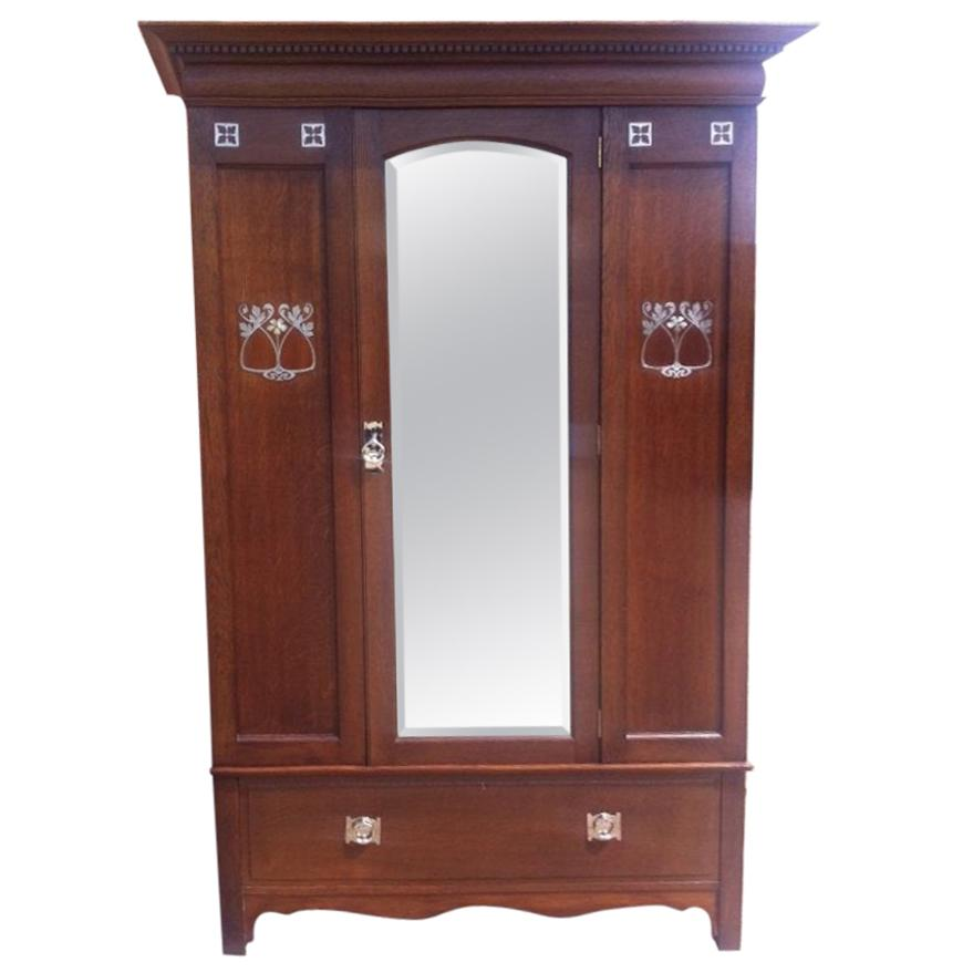 Wylie & Lochhead Arts & Crafts Oak Three-Piece Bedroom Suite with Pewter Inlays