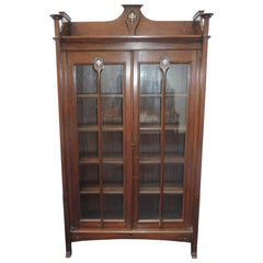 Wylie & Lochhead, Arts & Crafts Voysey Style Bookcase with Pewter & Ebony Inlays