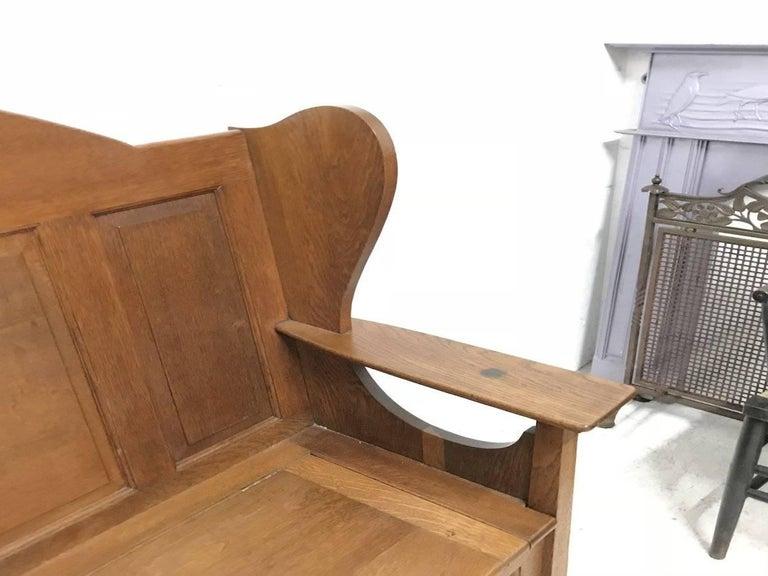 Late 19th Century Wylie & Lochhead, M H Baillie Scott, an Arts & Crafts Glasgow School Oak Settle For Sale