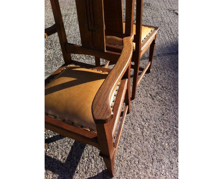 Wylie & Lochhead, Set of Four Arts & Crafts Oak Dining Chairs with Leather Seats For Sale 5
