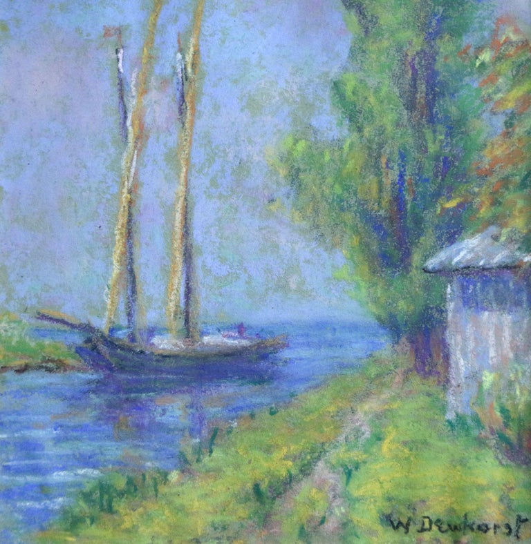 Boat on a Canal - Early 20th Century, French, Pastel Riverscape by W Dewhurst - Art by Wynford Dewhurst