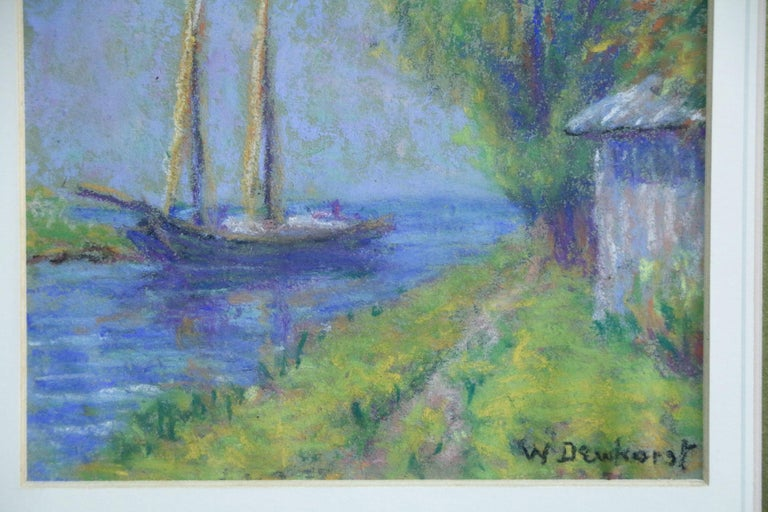 Boat on a Canal - Early 20th Century, French, Pastel Riverscape by W Dewhurst - Post-Impressionist Art by Wynford Dewhurst