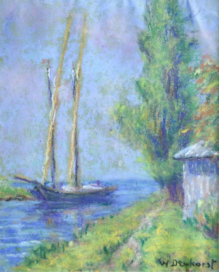 Wynford Dewhurst Landscape Art - Boat on a Canal - Early 20th Century, French, Pastel Riverscape by W Dewhurst