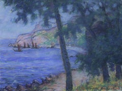 Boats on the Coast - 20th Century French Pastel Coastal Landscape by W Dewhurst