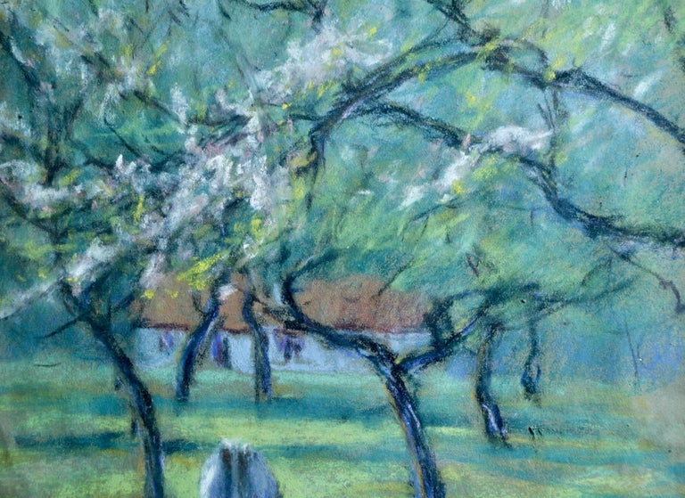 Cattle in an Orchard - 20th Century Pastel, Cow & Trees in Landscape by Dewhurst - Art by Wynford Dewhurst