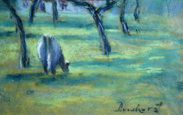 Cattle in an Orchard - 20th Century Pastel, Cow & Trees in Landscape by Dewhurst - Impressionist Art by Wynford Dewhurst