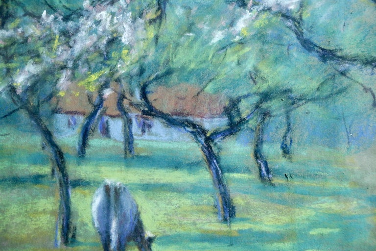 Cattle in an Orchard - 20th Century Pastel, Cow & Trees in Landscape by Dewhurst - Blue Animal Art by Wynford Dewhurst