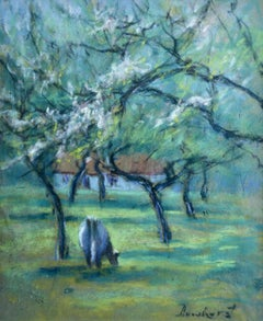 Cattle in an Orchard - 20th Century Pastel, Cow & Trees in Landscape by Dewhurst