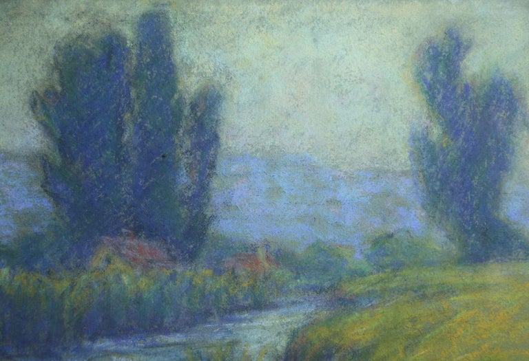 Cottage in Crozant - 20th Century Pastel, River in Landscape by Wynford Dewhurst For Sale 1