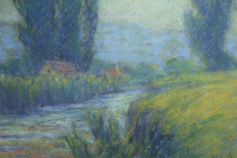 Cottage in Crozant - 20th Century Pastel, River in Landscape by Wynford Dewhurst For Sale 2