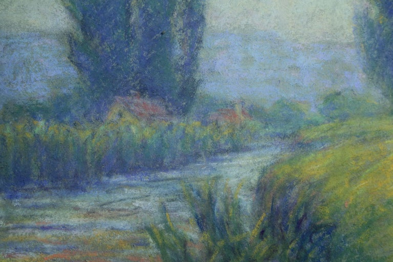 Cottage in Crozant - 20th Century Pastel, River in Landscape by Wynford Dewhurst For Sale 3