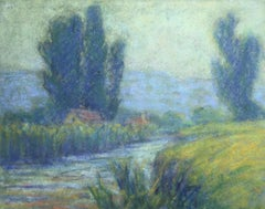 Cottage in Crozant - 20th Century Pastel, River in Landscape by Wynford Dewhurst