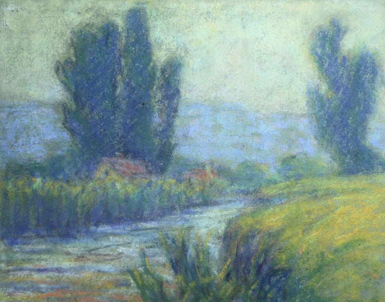 Pastel on paper. Framed dimensions are 13 inches high by 15 inches wide.  Wynford Dewhurst was born Thomas Edward Smith to an affluent family in Manchester in 1864. He was educated at home by a private tutor and later at Mintholme College. Although