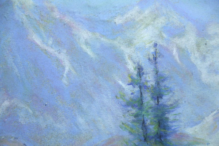 Les Alpes - 20th Century Pastel, Trees & Mountains Landscape by Wynford Dewhurst For Sale 1