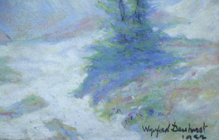 Les Alpes - 20th Century Pastel, Trees & Mountains Landscape by Wynford Dewhurst For Sale 2