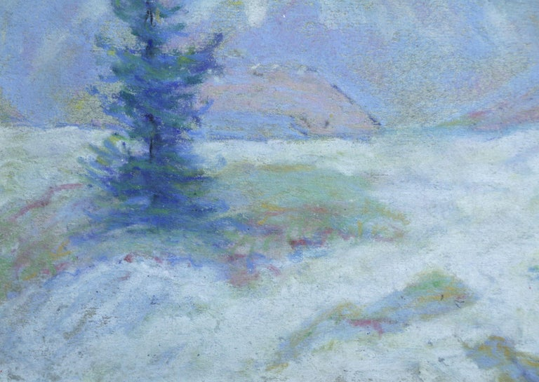 Les Alpes - 20th Century Pastel, Trees & Mountains Landscape by Wynford Dewhurst For Sale 3