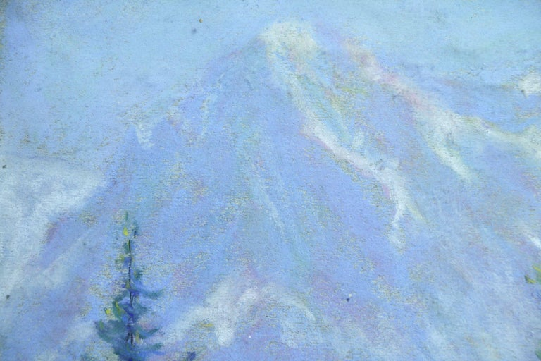 Les Alpes - 20th Century Pastel, Trees & Mountains Landscape by Wynford Dewhurst For Sale 4