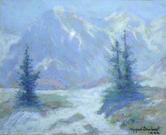 Les Alpes - 20th Century Pastel, Trees & Mountains Landscape by Wynford Dewhurst