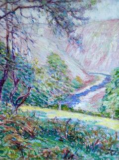 Valle de la Creuse - 20th Century Oil, River in Valley Landscape by W Dewhurst