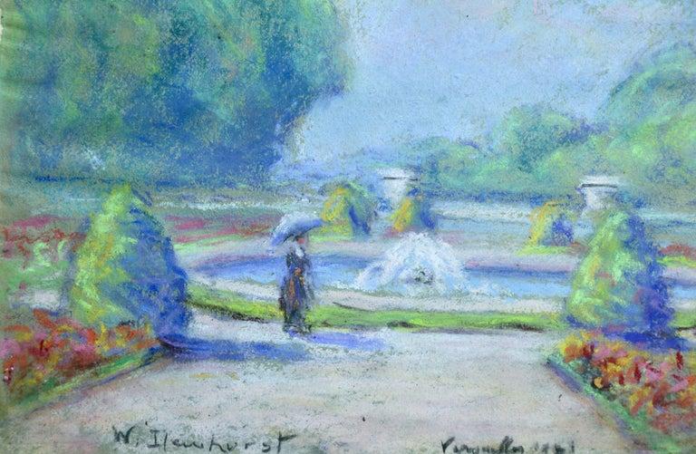 Versailles 1921 - 20th Century Pastel, Figure & Fountain Landscape by W Dewhurst - Art by Wynford Dewhurst