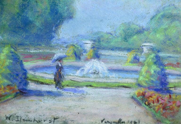Versailles 1921 - 20th Century Pastel, Figure & Fountain Landscape by W Dewhurst - Impressionist Art by Wynford Dewhurst