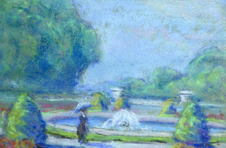 Versailles 1921 - 20th Century Pastel, Figure & Fountain Landscape by W Dewhurst - Blue Landscape Art by Wynford Dewhurst