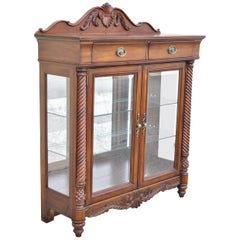 Wynwood Flex Steel Empire Carved Cherry Wood Glass Display Curio China Cabinet