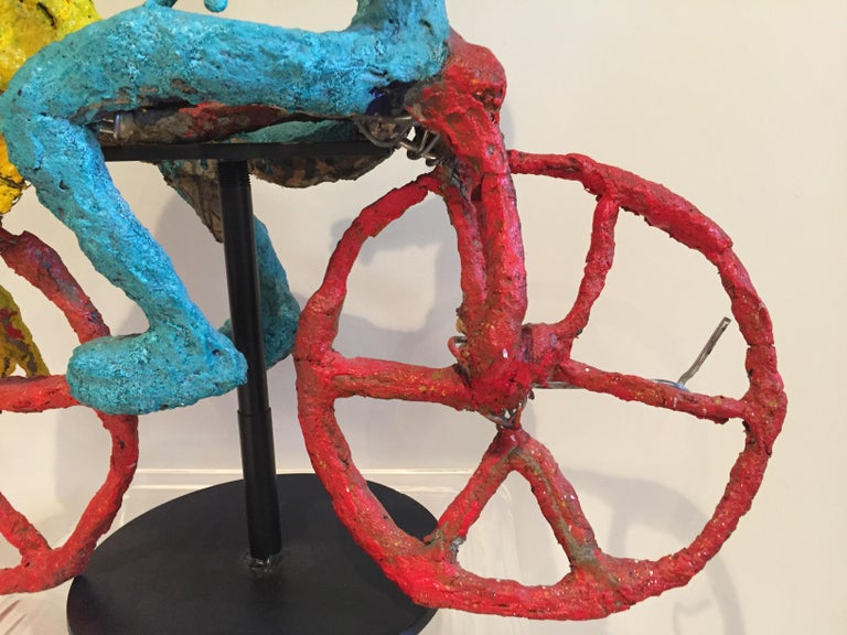 Wyona Diskin Couple Riding a Bicycle Large Sculpture For Sale 2