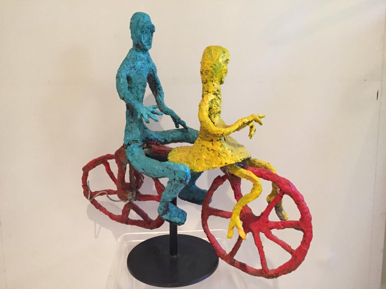 Wyona Diskin 1915-1991 couple riding a Bicycle, colorful composition vibrant, together on a handmade stand .She was an American painter and printmaker New York City born and raised, in Manhattan she entered the art scene through friend Michael Loew.
