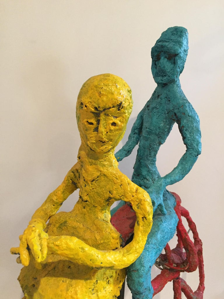 Wyona Diskin Couple Riding a Bicycle Large Sculpture In Good Condition For Sale In Westport, CT